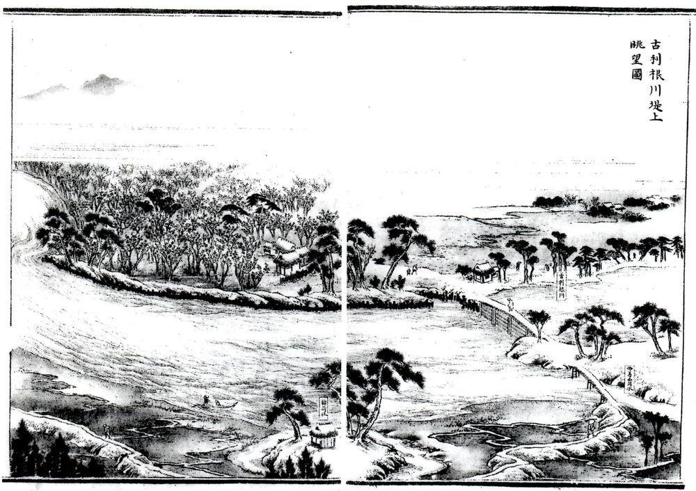 古利根川堤上眺望図