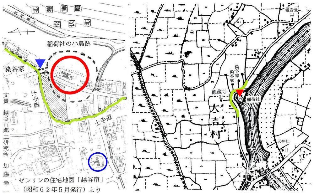 かつての大吉香取神社周辺図