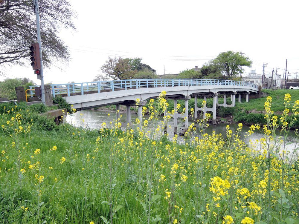 大野島越谷線から〆切橋を左手に望む。