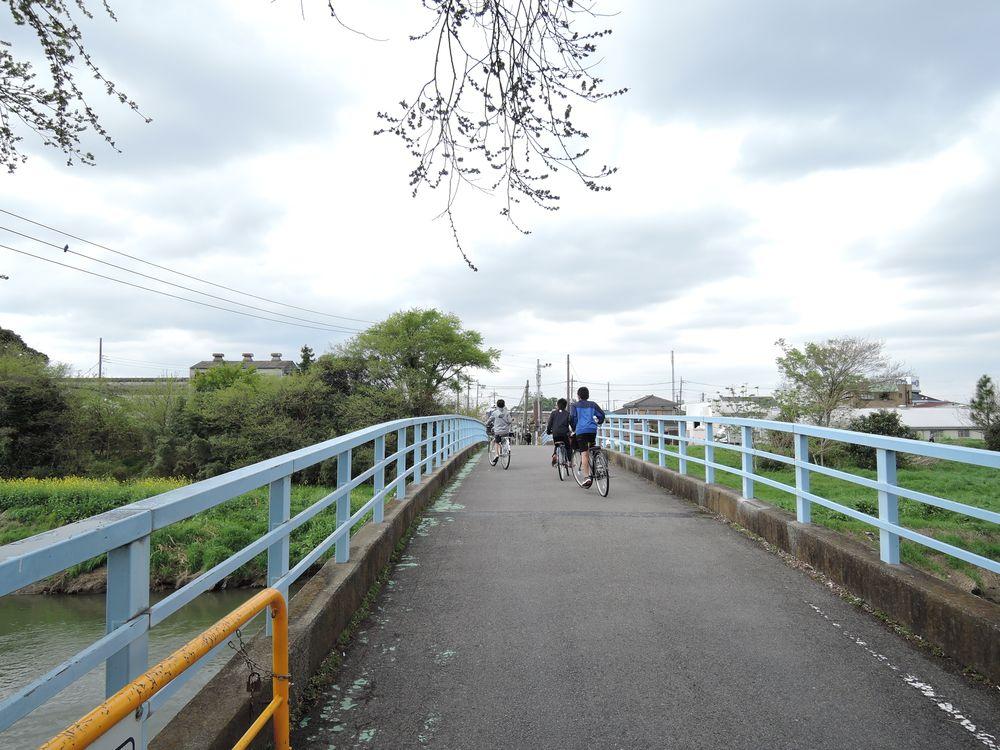 自転車で〆切橋を渡る小学生