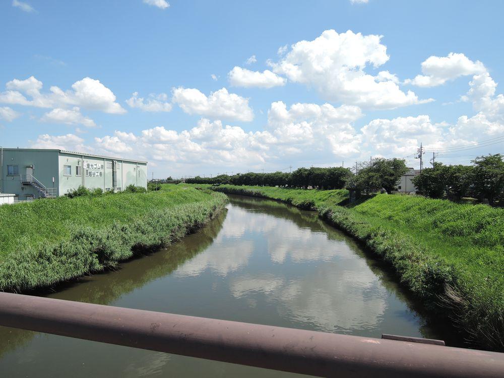 宮野橋から新方川の下流を望む